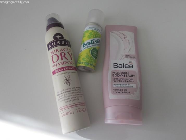 Aussie dry shampoo Batiste Balea Body-serum