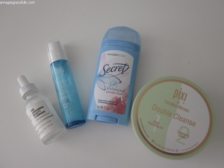 Pixi Double Cleanse; Secret; Dr. Pierre Ricaud Hydra booster; Niacimide; The Ordinary
