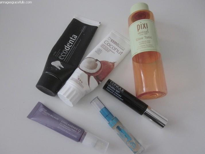 Pixi glow tonic; Ecodenta tandpasta; Clinique chubby mascara; Dr. Pierre Ricaud Collagenes