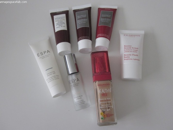 Korres; Bourjois foundation Healthy Mix; Espa; Clarins